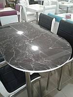 """Розкладний обідній кухонний комплект овальний стіл і стільці """"Чорний камінь граніт мармур"""" ДСП гартоване скло 75*130 Лотос-М"""