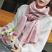 Кашемировый шарф урашенный жемчужинками