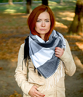 Теплый платок в клетку Милания 100*105 см графит, фото 1