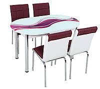 """Розкладний обідній кухонний комплект овальний стіл і стільці """"Бузкова хвиля"""" ДСП гартоване скло 75*130 Лотос-М"""