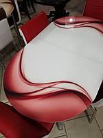 """Розкладний обідній кухонний комплект овальний стіл і стільці """"Червоні хвилі"""" ДСП гартоване скло 75*130 Лотос-М, фото 1"""