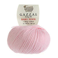 Пряжа Gazzal Baby Wool 836 (Газзал Беби Вул) Шерсть Акрил Розовый