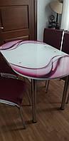"""Розкладний обідній кухонний комплект овальний стіл і стільці """"Фіолетові хвилі"""" ДСП гартоване скло 75*130 Лотос-М"""