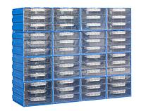 Кассетница (302-3)-16-48 с выдвижными прозрачными пластиковыми ящиками на 48 ячеек