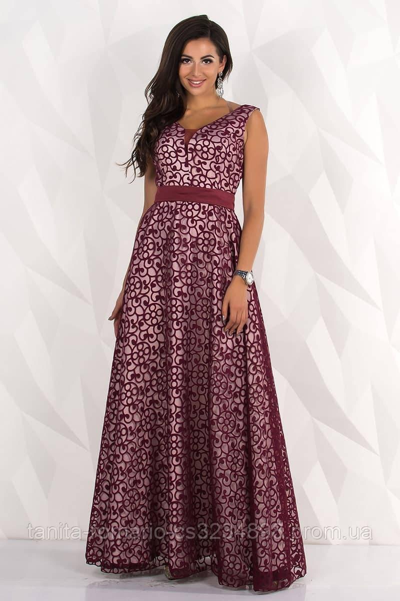 Вечірня вишита сукня з поясом L