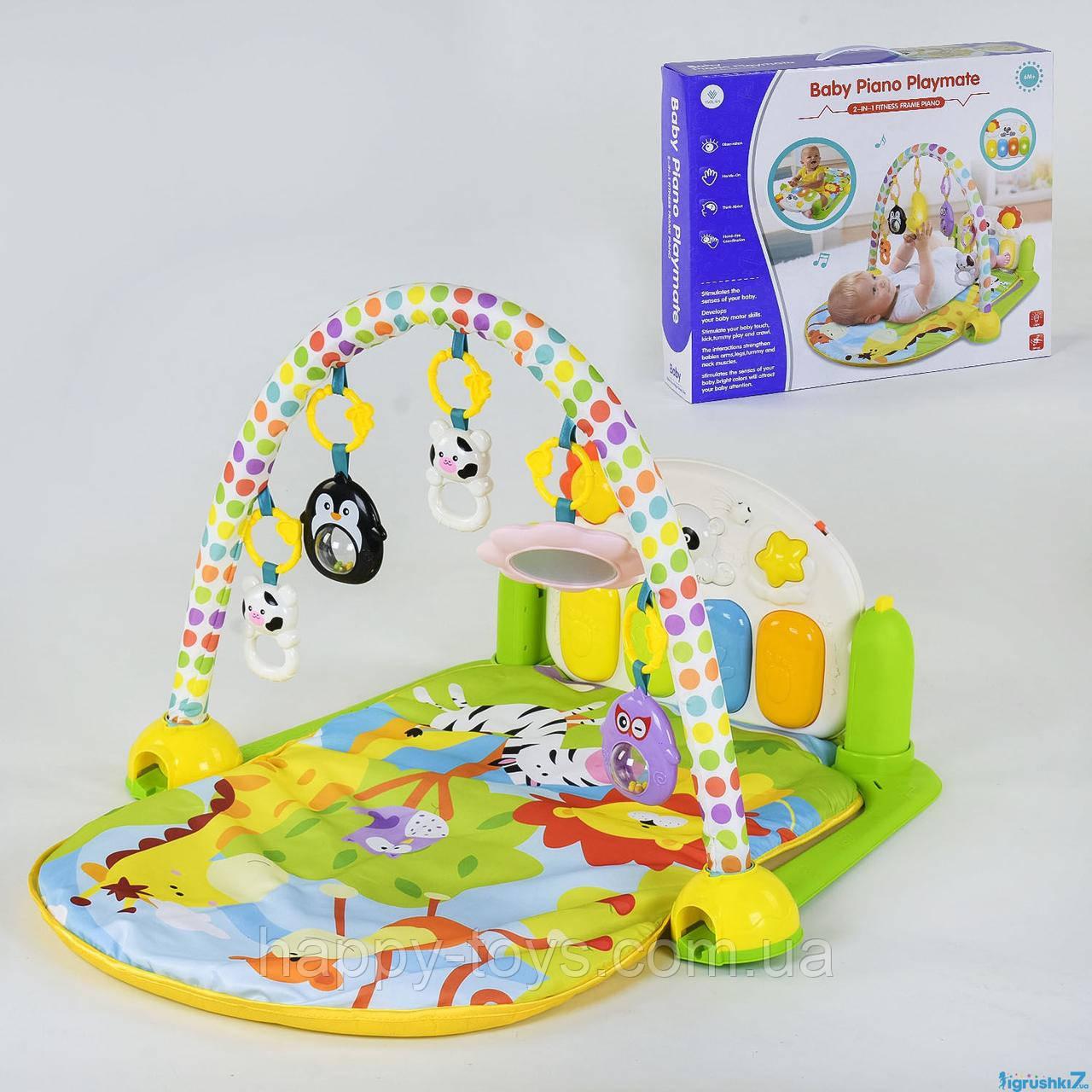 Детский игровой музыкальный коврик с пианино, погремушками YL - 605