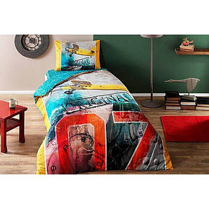 Постельное белье  Tac Ranforce Teen - Plane sari v01 желтое 160*220 подростковое на резинке