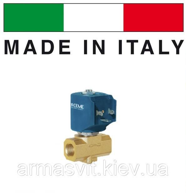 """Электромагнитный клапан CEME (Италия) 9913, НЗ, 3/8"""", 4 мм, 140 C, 220В нормально закрытый для пара."""