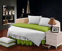 Круглая кровать. Постельное белье с цельной простынью - подзором Белый + Салатовый полуторный/200