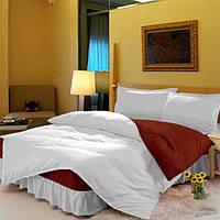 Комплект постельного белья с цельной простынью - подзором Белый + Винный 120*200 полуторный