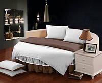 На Круглую кровать. Постельное белье в комплекте с цельной простынью - подзором  Белый + Порох полуторный/200