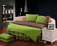 Постельный комплект белья с цельной простынью - подзором на Круглую кровать Салатовый + Порох полуторный/200