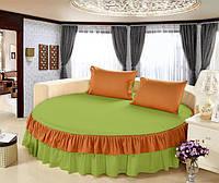 Круглая кровать. Простынь цельная - подзор Модель 6 Салатовый + Медовый 200