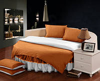 Круглая кровать. Комплект постельного белья с цельной простынью - подзором Медовый + Белый полуторный/200