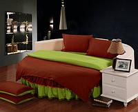 Постельное белье с цельной простынью - подзором на Круглую кровать Винный + Салатовый полуторный/200