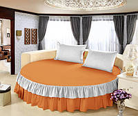 На Круглую кровать Простынь цельная - подзор  Модель 6 Медовый + Белый 200