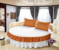 Простынь цельная - подзор на Круглую кровать Модель 6 Белый + Медовый 200
