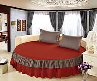 На Круглую кровать Простынь цельная - подзор Модель 6 Винный + Порох 200