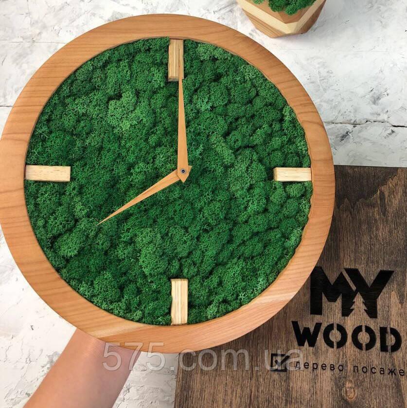 Часы настенные из дерева и Норвежского мха (25 см). Настольные часы.