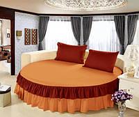 Круглая кровать. Простынь цельная - подзор Модель 6 Медовый + Винный 200