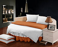 На Круглу ліжко Комплект постільної білизни з цільної простирадлом - подзоров Білий + Медовий полуторний/200