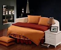 Постельный комплект белья с цельной простынью - подзором на Круглую кровать Медовый + Винный полуторный/200