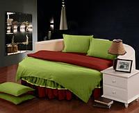 Круглая кровать. Комплект постельного белья с цельной простынью - подзором Салатовый + Винный полуторный/200