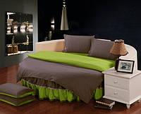 Круглая кровать. Комплект постельного белья с цельной простынью - подзором Порох + Салатовый полуторный/200