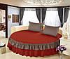 Простирадло цільна - підзор на Круглу ліжко Модель 6 Винний + Порох