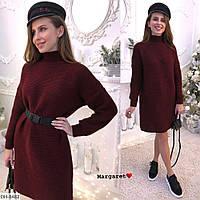 Вязаное прямое модное платье с поясом арт 8486