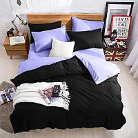 Подростковый комплект постельного белья Сатин Премиум Черный + Сирень