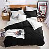 Подростковый комплект постельного белья Сатин Премиум Черный + Белый