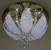 Люстра потолочная с Led подсветкой и автоматическим отключением с пультом (25х40х40 см.) Хром или золото YR-5367/400-gd