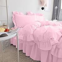Комплект постільної білизни З рюшів Сатин Преміум Рожевий, фото 1