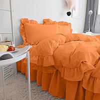 Комплект постельного белья С рюшей Сатин Премиум Медовый