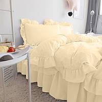 Комплект постельного белья С рюшей Сатин Премиум Шампань, фото 1