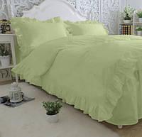 Комплект постельного белья С рюшей Сатин Премиум Оливковый, фото 1