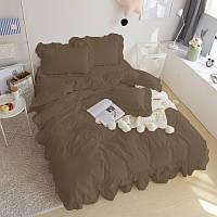Комплект постельного белья С рюшей Сатин Премиум Порох, фото 1