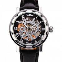 Winner black сріблясті з чорним циферблатом чоловічий механічний годинник скелетон