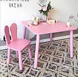 Дитячий стіл, 1 стілець (дерев'яний стільчик зайчик і квадратний столик), фото 2