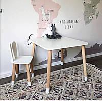 Детский стол и стул (деревянный стульчик зайка и квадратный столик)