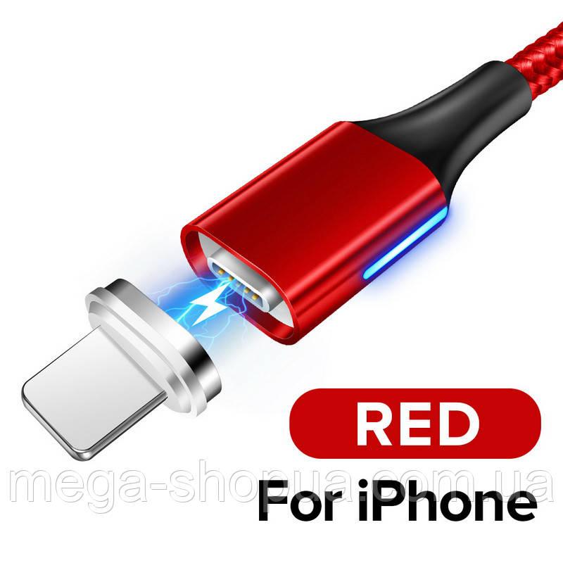 Магнитный кабель Voxlink USB - Lightning для зарядки и передачи данных Красный 1 Метр