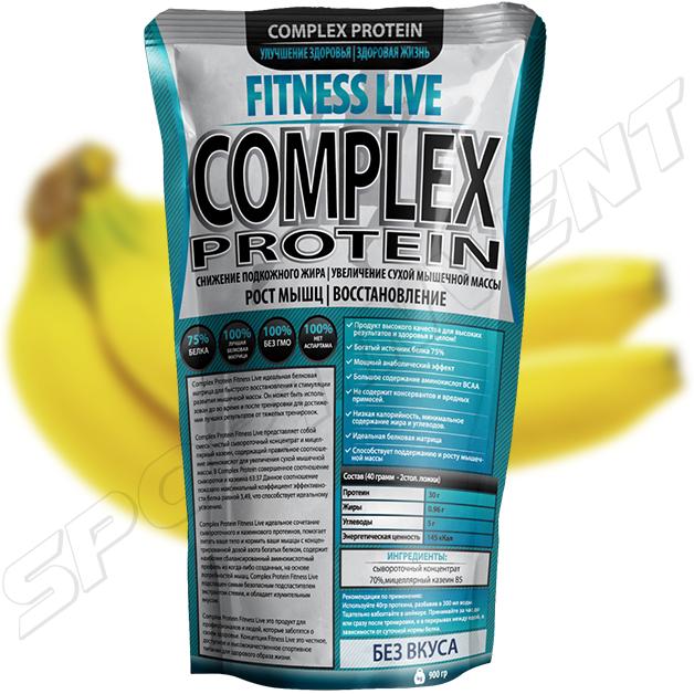Протеин Fitness Live Complex Protein 900 г, банан