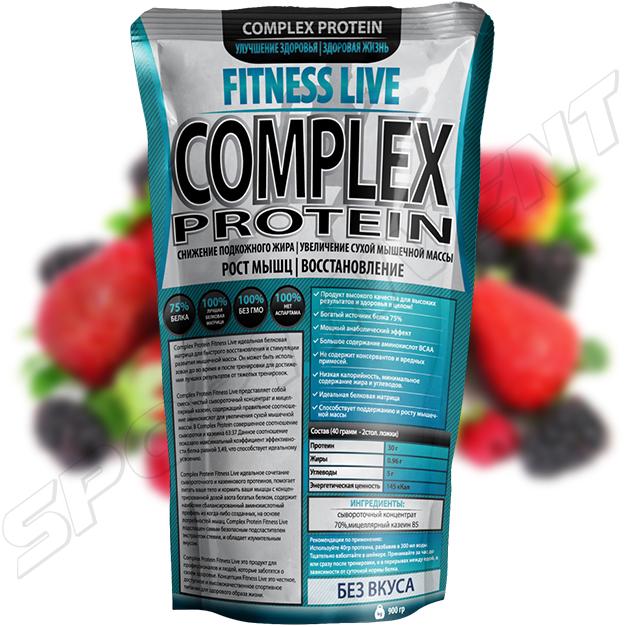 Протеин Fitness Live Complex Protein 900 г, ягода