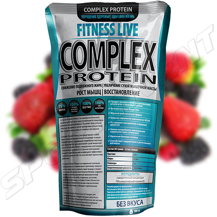 Протеин Fitness Live Complex Protein 900 г, ягода, фото 2