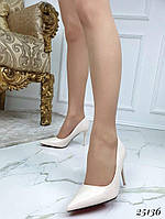 Туфли женские лодочки  бежевые  каблук  8,5 см, фото 1