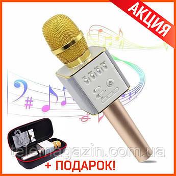 Караоке Микрофон беспроводной с динамиками Q9 ЗОЛОТО +ЧЕХОЛ +Подарок!