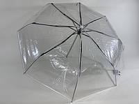Складные прозрачные механические зонты с  белым контуром