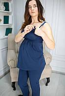 885502 Топ майка для беременных синяя