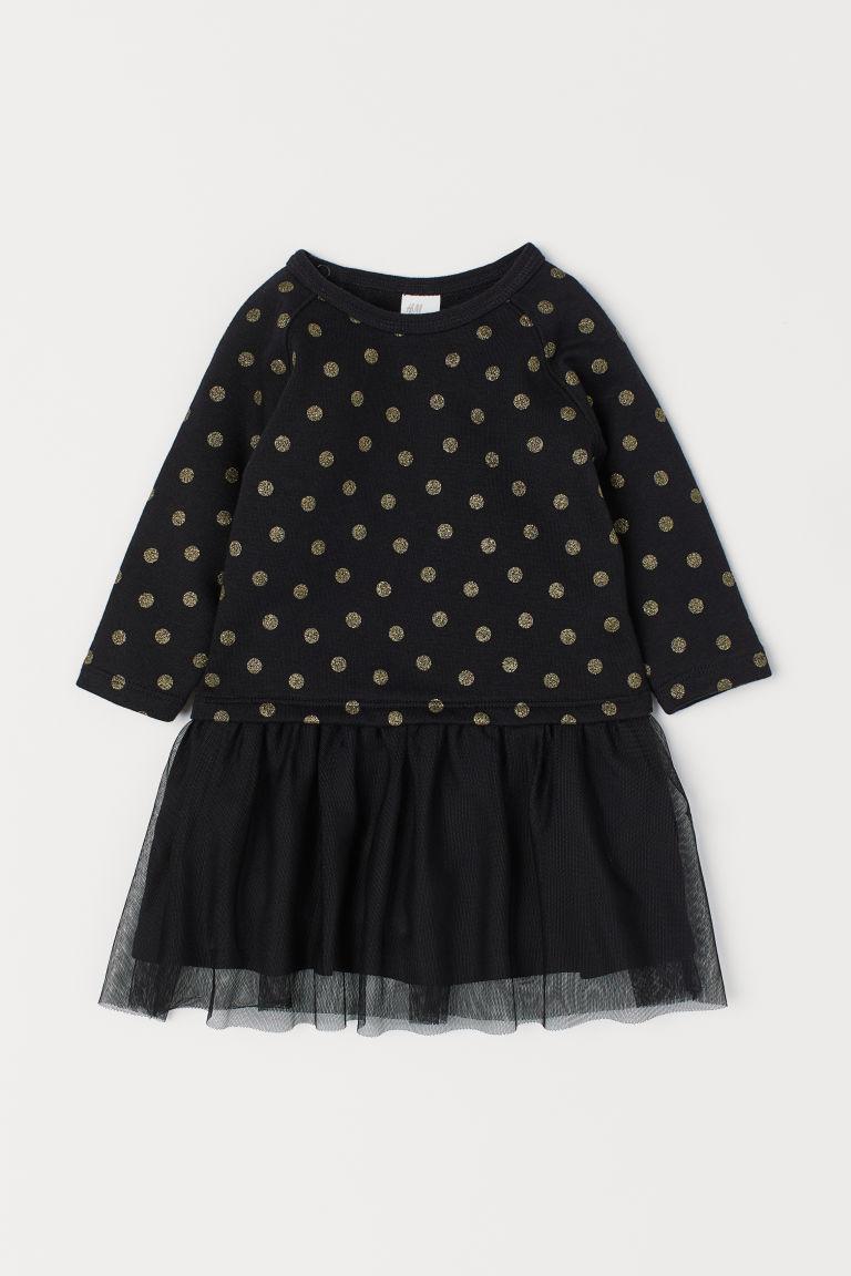 Платье двунить черное в горошек  H&M р.98см (2-3года)